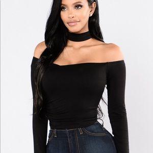 NWT Fashion Nova Black Top With Attached Choker